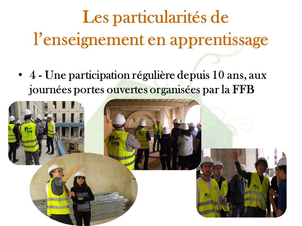 Les particularités de l'enseignement en apprentissage 4 - Une participation régulière depuis 10 ans, aux journées portes ouvertes organisées par la FF