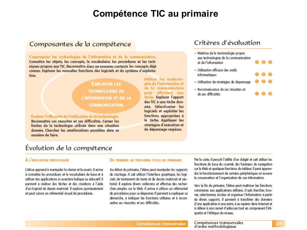 Compétence TIC au primaire