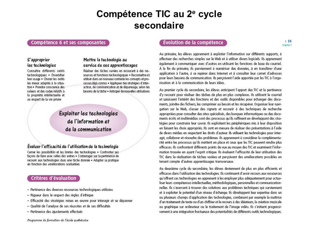 Compétence TIC au 2 e cycle secondaire