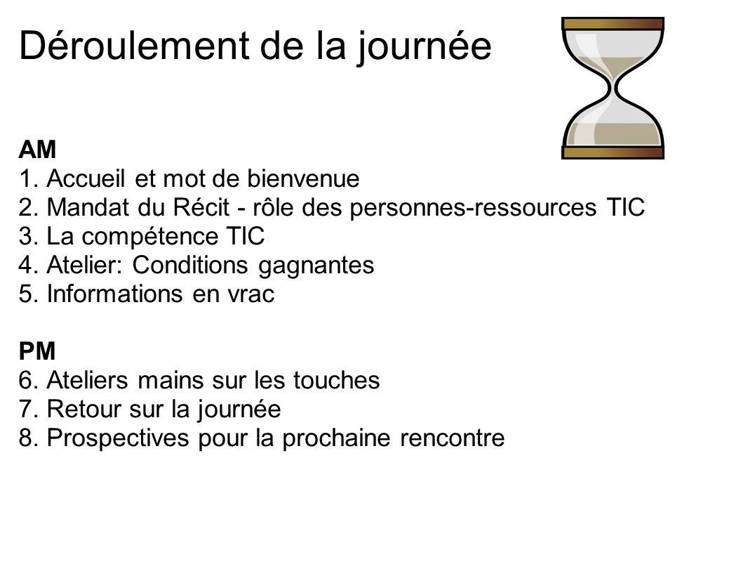 Déroulement de la journée AM 1. Accueil et mot de bienvenue 2. Mandat du Récit - rôle des personnes-ressources TIC 3. La compétence TIC 4. Atelier: Co