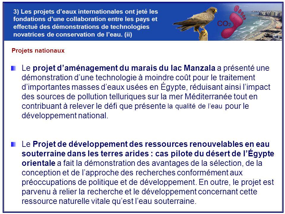 Projets nationaux Le projet d'aménagement du marais du lac Manzala a présenté une démonstration d'une technologie à moindre coût pour le traitement d'importantes masses d'eaux usées en Égypte, réduisant ainsi l'impact des sources de pollution telluriques sur la mer Méditerranée tout en contribuant à relever le défi que présente la qualité de l'eau pour le développement national.