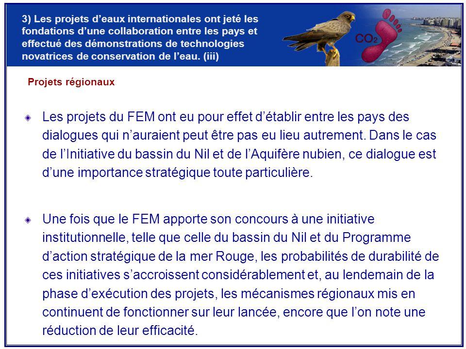 Les projets du FEM ont eu pour effet d'établir entre les pays des dialogues qui n'auraient peut être pas eu lieu autrement.