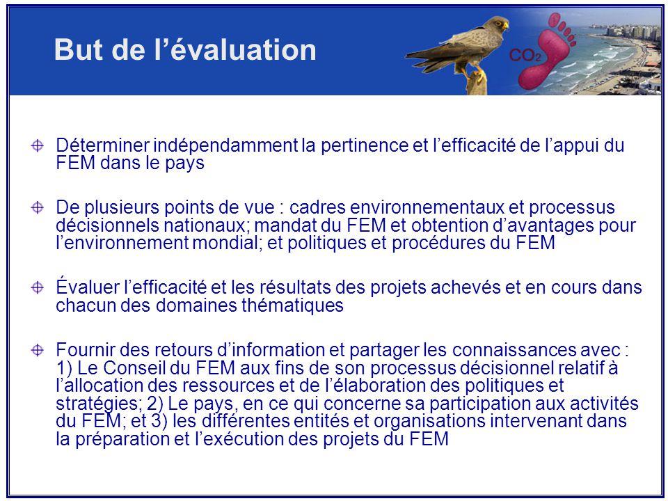 Déterminer indépendamment la pertinence et l'efficacité de l'appui du FEM dans le pays De plusieurs points de vue : cadres environnementaux et processus décisionnels nationaux; mandat du FEM et obtention d'avantages pour l'environnement mondial; et politiques et procédures du FEM Évaluer l'efficacité et les résultats des projets achevés et en cours dans chacun des domaines thématiques Fournir des retours d'information et partager les connaissances avec : 1) Le Conseil du FEM aux fins de son processus décisionnel relatif à l'allocation des ressources et de l'élaboration des politiques et stratégies; 2) Le pays, en ce qui concerne sa participation aux activités du FEM; et 3) les différentes entités et organisations intervenant dans la préparation et l'exécution des projets du FEM But de l'évaluation