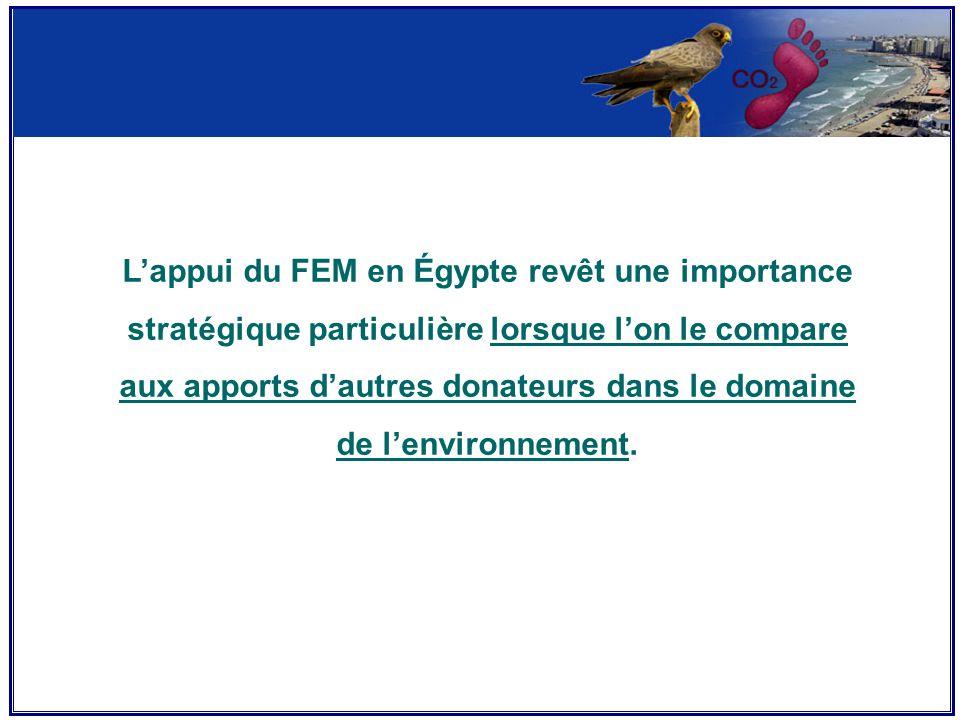 L'appui du FEM en Égypte revêt une importance stratégique particulière lorsque l'on le compare aux apports d'autres donateurs dans le domaine de l'environnement.