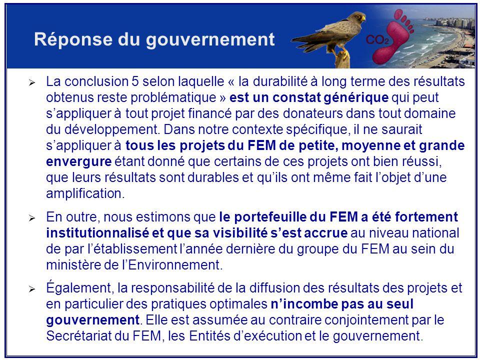  La conclusion 5 selon laquelle « la durabilité à long terme des résultats obtenus reste problématique » est un constat générique qui peut s'appliquer à tout projet financé par des donateurs dans tout domaine du développement.
