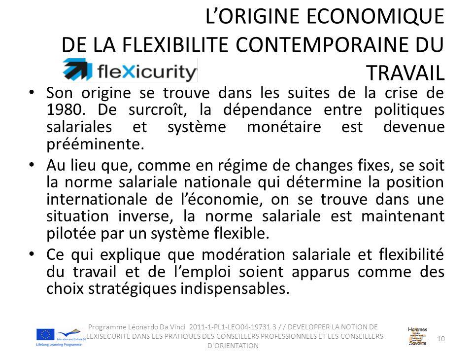 L'ORIGINE ECONOMIQUE DE LA FLEXIBILITE CONTEMPORAINE DU TRAVAIL Son origine se trouve dans les suites de la crise de 1980.