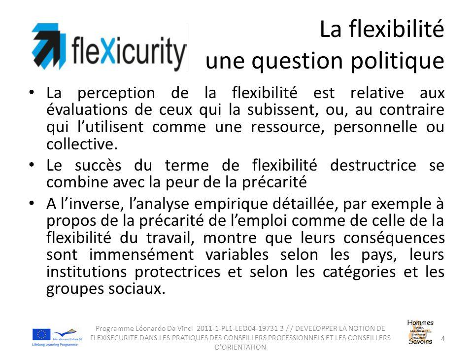 La flexibilité une question politique La perception de la flexibilité est relative aux évaluations de ceux qui la subissent, ou, au contraire qui l'utilisent comme une ressource, personnelle ou collective.