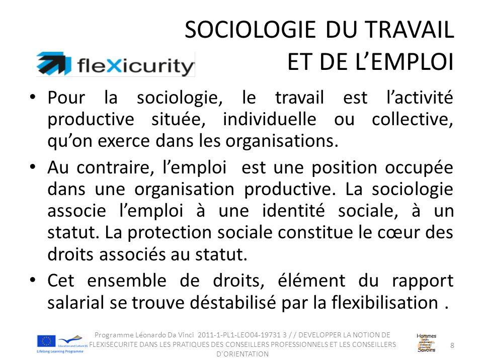 SOCIOLOGIE DU TRAVAIL ET DE L'EMPLOI Pour la sociologie, le travail est l'activité productive située, individuelle ou collective, qu'on exerce dans les organisations.