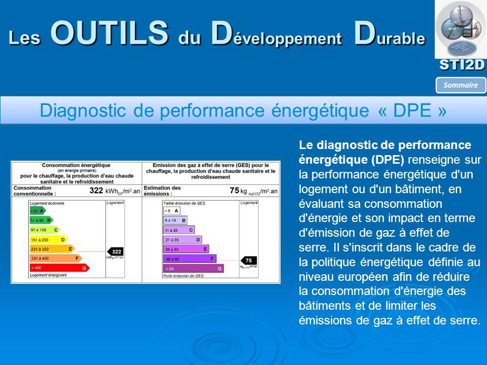 STI2D Les OUTILS du D éveloppement D urable Diagnostic de performance énergétique « DPE » Le diagnostic de performance énergétique (DPE) renseigne sur la performance énergétique d un logement ou d un bâtiment, en évaluant sa consommation d énergie et son impact en terme d émission de gaz à effet de serre.