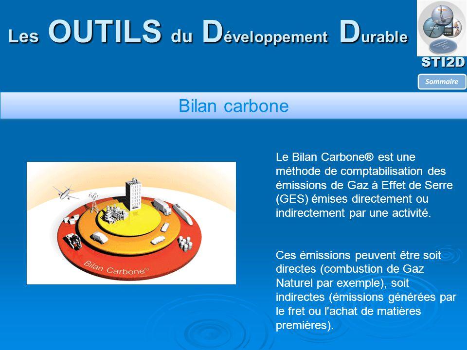 STI2D Les OUTILS du D éveloppement D urable Bilan carbone Le Bilan Carbone® est une méthode de comptabilisation des émissions de Gaz à Effet de Serre (GES) émises directement ou indirectement par une activité.