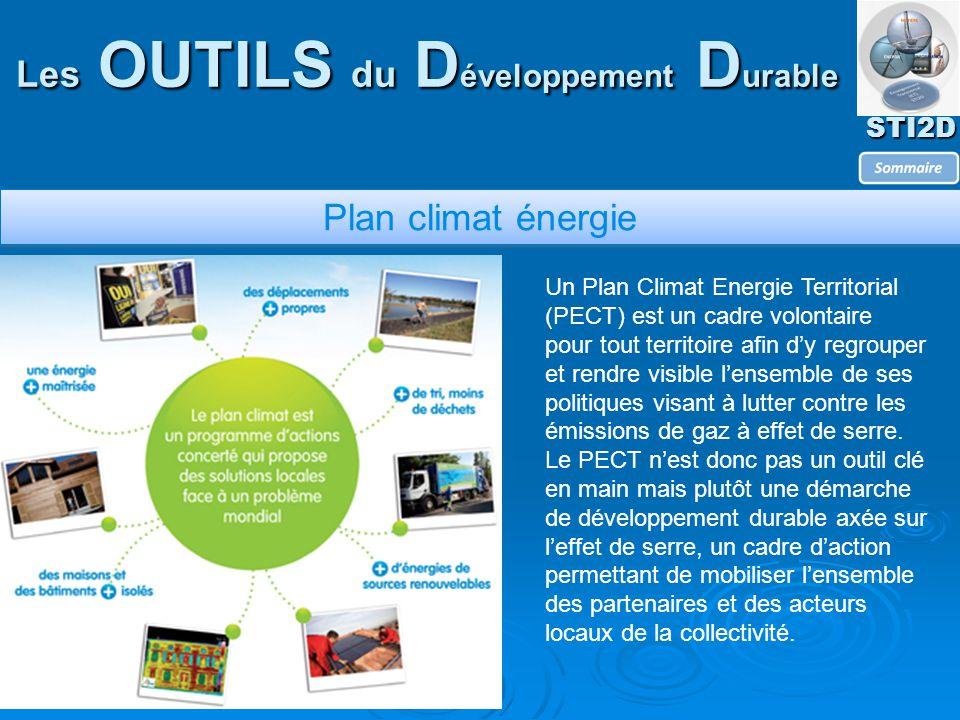 STI2D Les OUTILS du D éveloppement D urable Plan climat énergie Un Plan Climat Energie Territorial (PECT) est un cadre volontaire pour tout territoire afin d'y regrouper et rendre visible l'ensemble de ses politiques visant à lutter contre les émissions de gaz à effet de serre.