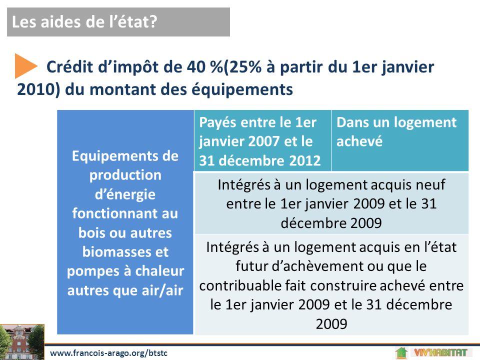 Les aides de l'état? www.francois-arago.org/btstc Equipements de production d'énergie fonctionnant au bois ou autres biomasses et pompes à chaleur aut