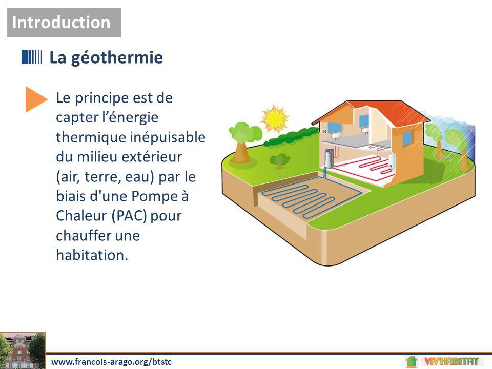 Le principe est de capter l'énergie thermique inépuisable du milieu extérieur (air, terre, eau) par le biais d'une Pompe à Chaleur (PAC) pour chauffer