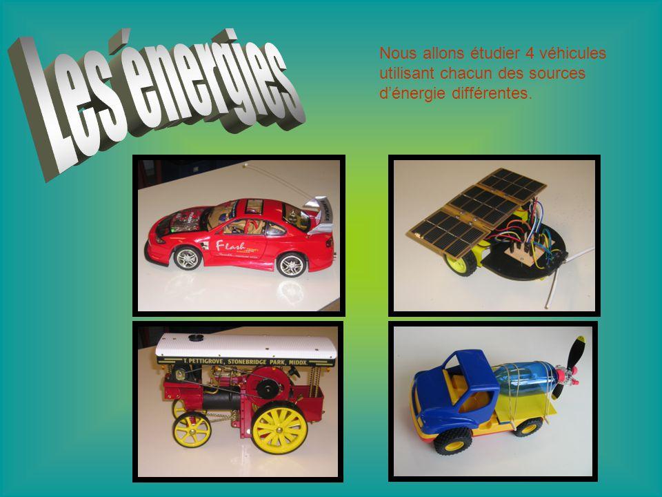 Nous allons étudier 4 véhicules utilisant chacun des sources d'énergie différentes.