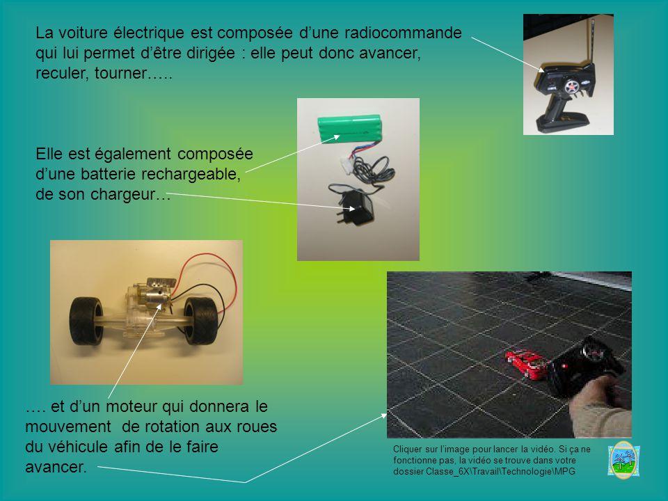 La voiture électrique est composée d'une radiocommande qui lui permet d'être dirigée : elle peut donc avancer, reculer, tourner…..