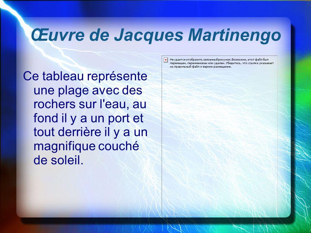 Œuvre de Jacques Martinengo Ce tableau représente une plage avec des rochers sur l'eau, au fond il y a un port et tout derrière il y a un magnifique c