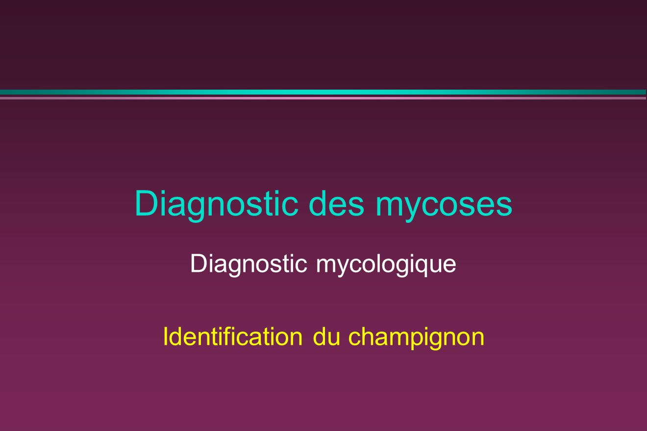 Diagnostic des mycoses Diagnostic mycologique Identification du champignon