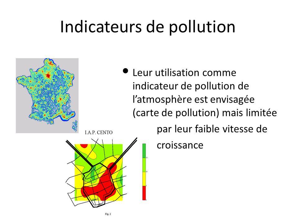 Indicateurs de pollution Leur utilisation comme indicateur de pollution de l'atmosphère est envisagée (carte de pollution) mais limitée par leur faibl