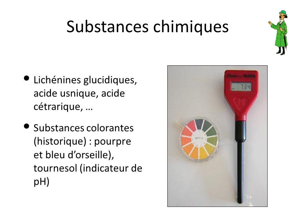 Substances chimiques Lichénines glucidiques, acide usnique, acide cétrarique, … Substances colorantes (historique) : pourpre et bleu d'orseille), tour