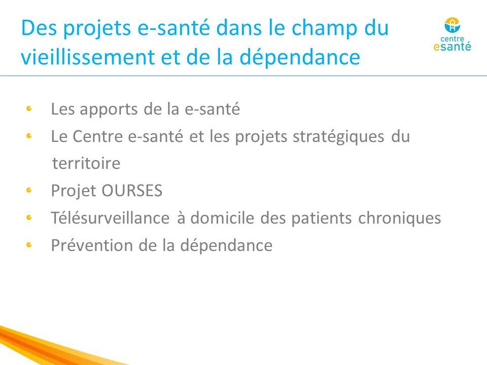 Des projets e-santé dans le champ du vieillissement et de la dépendance Les apports de la e-santé Le Centre e-santé et les projets stratégiques du territoire Projet OURSES Télésurveillance à domicile des patients chroniques Prévention de la dépendance