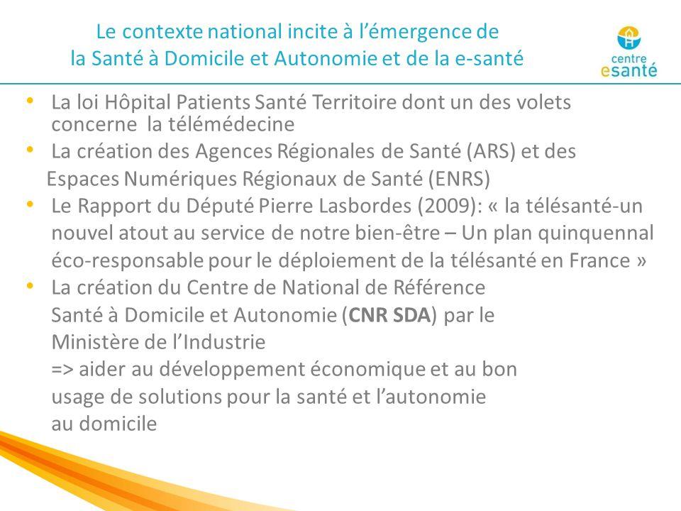 Les 4 territoires fondateurs Une dynamique nationale : création du Centre National de Référence Santé à Domicile et Autonomie, le 5 Octobre 2009