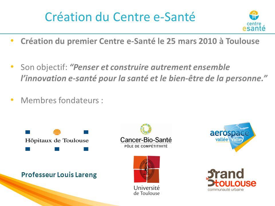 Création du premier Centre e-Santé le 25 mars 2010 à Toulouse Son objectif: Penser et construire autrement ensemble l'innovation e-santé pour la santé et le bien-être de la personne. Membres fondateurs : Professeur Louis Lareng Création du Centre e-Santé