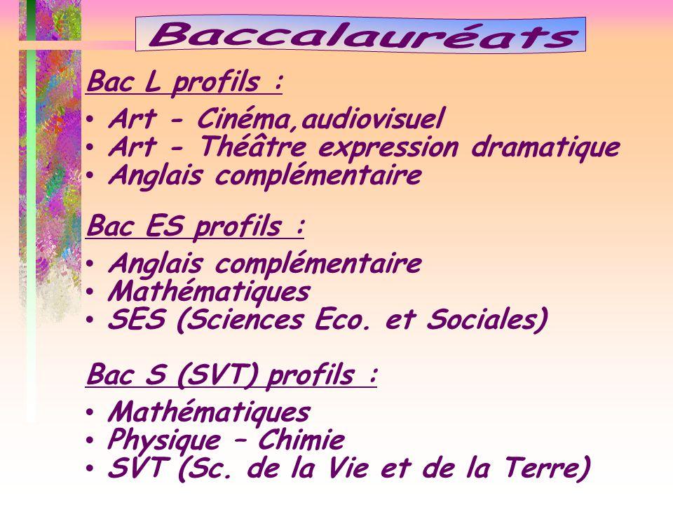 Bac L profils : Art - Cinéma,audiovisuel Art - Théâtre expression dramatique Anglais complémentaire Bac ES profils : Anglais complémentaire Mathématiq