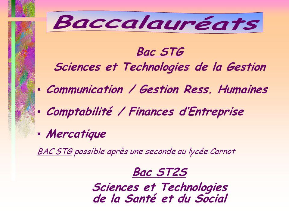 Bac STG Sciences et Technologies de la Gestion Communication / Gestion Ress. Humaines Comptabilité / Finances d'Entreprise Mercatique BAC STG possible