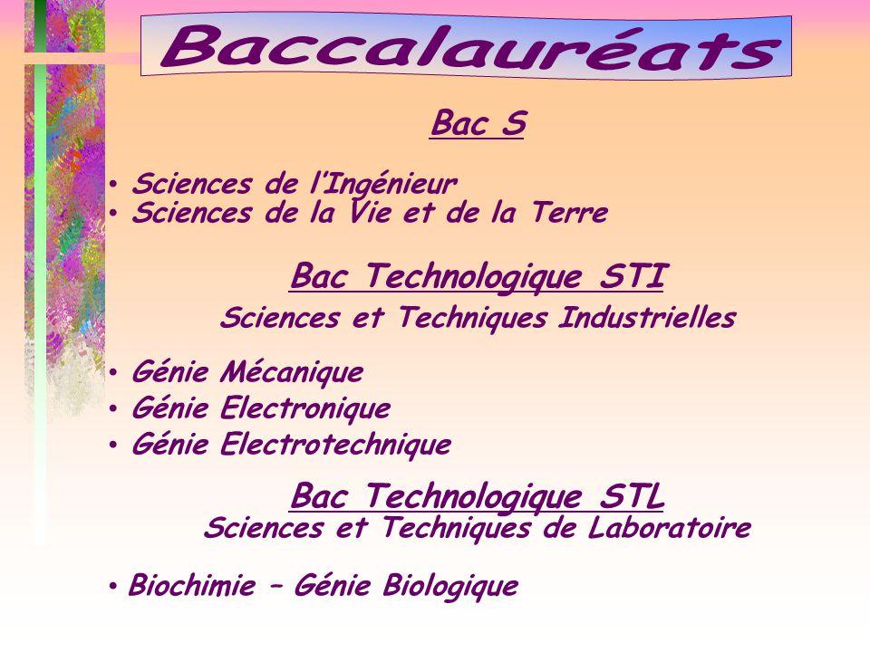 Bac S Sciences de l'Ingénieur Sciences de la Vie et de la Terre Bac Technologique STI Sciences et Techniques Industrielles Génie Mécanique Génie Elect