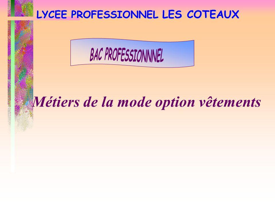 LYCEE PROFESSIONNEL LES COTEAUX Métiers de la mode option vêtements