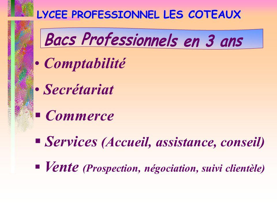 LYCEE PROFESSIONNEL LES COTEAUX Comptabilité Secrétariat  Commerce  Services (Accueil, assistance, conseil)  Vente (Prospection, négociation, suivi