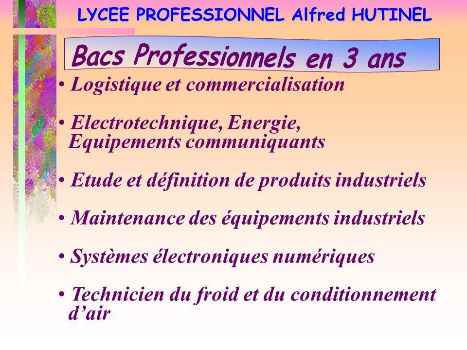 LYCEE PROFESSIONNEL Alfred HUTINEL Logistique et commercialisation Electrotechnique, Energie, Equipements communiquants Etude et définition de produit