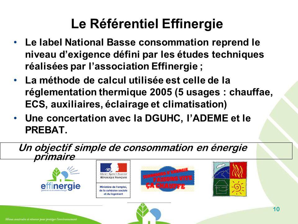 10 Le Référentiel Effinergie Le label National Basse consommation reprend le niveau d'exigence défini par les études techniques réalisées par l'associ