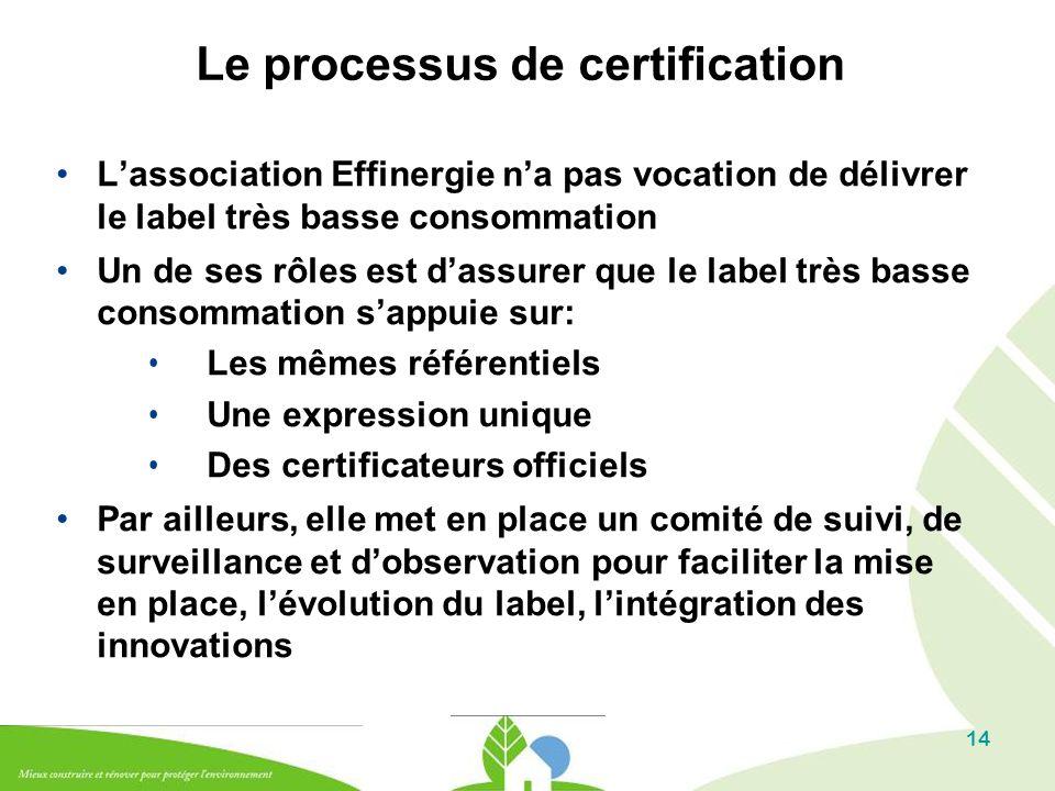 14 Le processus de certification L'association Effinergie n'a pas vocation de délivrer le label très basse consommation Un de ses rôles est d'assurer