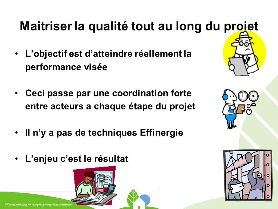 17 Maitriser la qualité tout au long du projet L'objectif est d'atteindre réellement la performance visée Ceci passe par une coordination forte entre