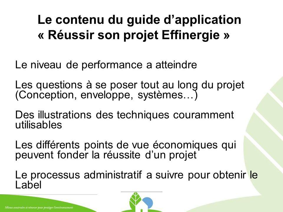 Le contenu du guide d'application « Réussir son projet Effinergie » Le niveau de performance a atteindre Les questions à se poser tout au long du proj