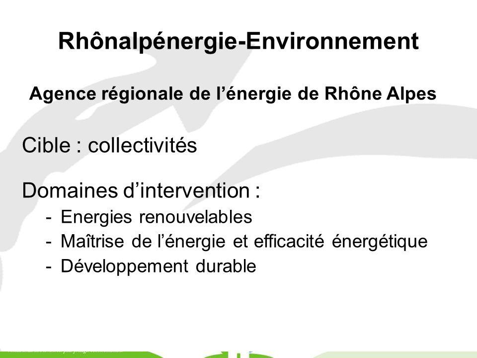 Rhônalpénergie-Environnement Agence régionale de l'énergie de Rhône Alpes Cible : collectivités Domaines d'intervention : -Energies renouvelables -Maî