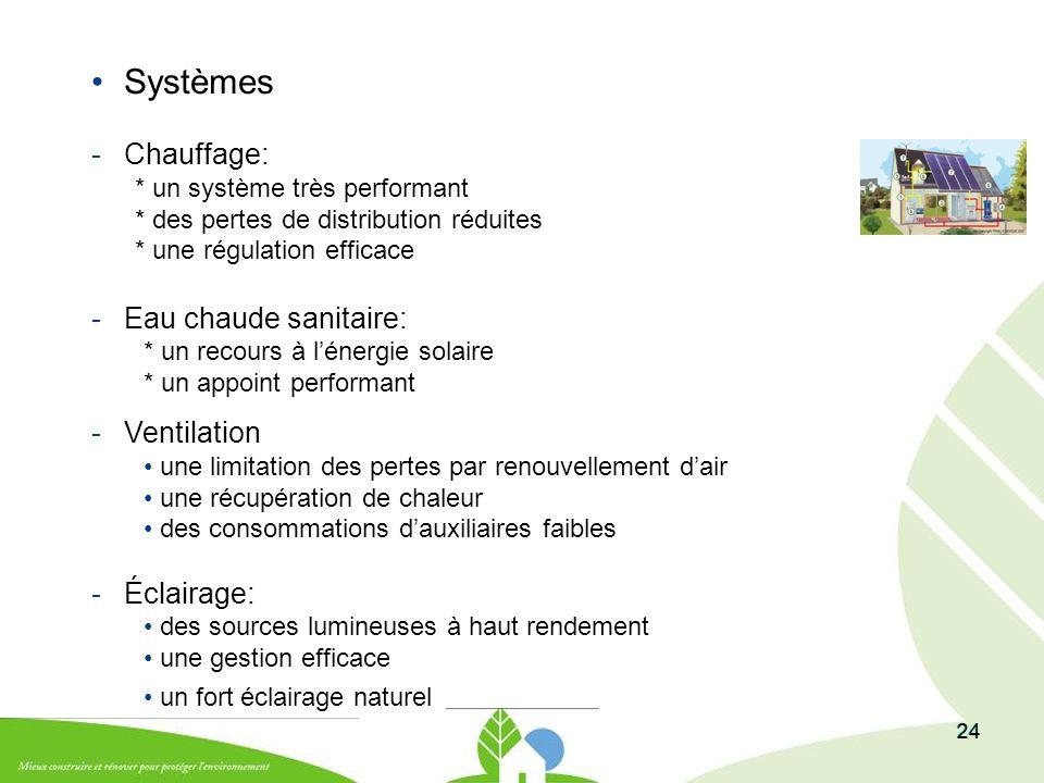 24 Systèmes -Chauffage: * un système très performant * des pertes de distribution réduites * une régulation efficace -Eau chaude sanitaire: * un recou
