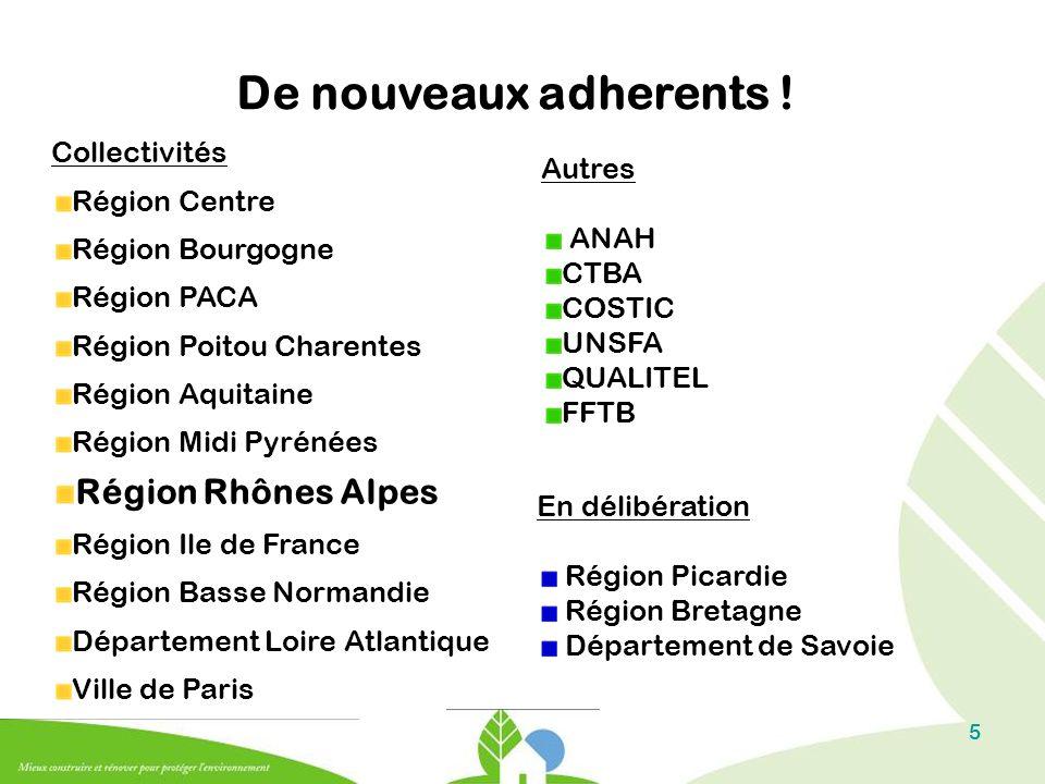5 De nouveaux adherents ! Collectivités Région Centre Région Bourgogne Région PACA Région Poitou Charentes Région Aquitaine Région Midi Pyrénées Régio