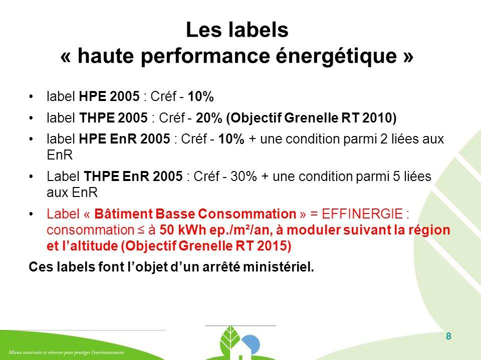 8 Les labels « haute performance énergétique » label HPE 2005 : Créf - 10% label THPE 2005 : Créf - 20% (Objectif Grenelle RT 2010) label HPE EnR 2005