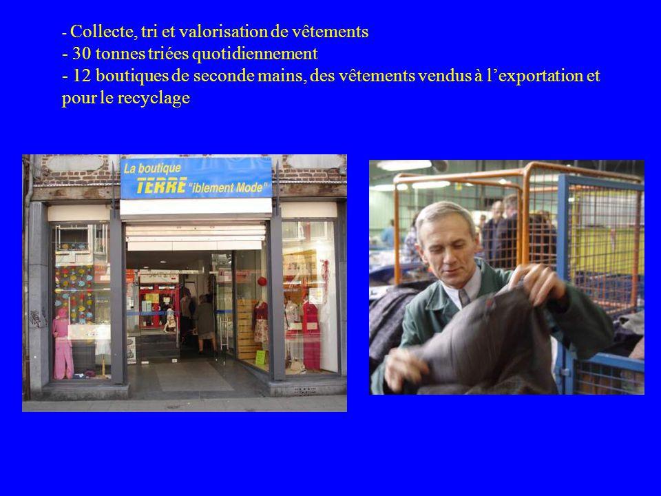 - Collecte, tri et valorisation de vêtements - 30 tonnes triées quotidiennement - 12 boutiques de seconde mains, des vêtements vendus à l'exportation et pour le recyclage