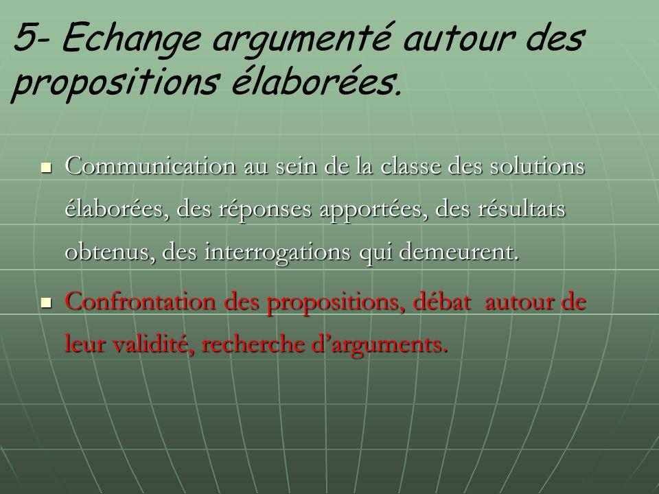 5- Echange argumenté autour des propositions élaborées. Communication au sein de la classe des solutions élaborées, des réponses apportées, des résult