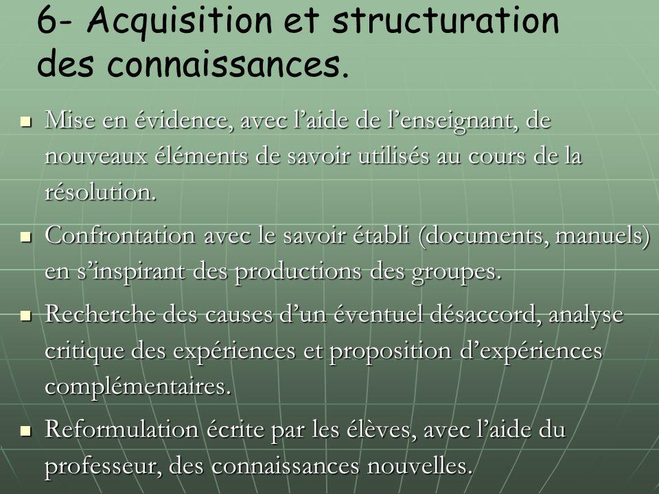 6- Acquisition et structuration des connaissances. Mise en évidence, avec l'aide de l'enseignant, de nouveaux éléments de savoir utilisés au cours de