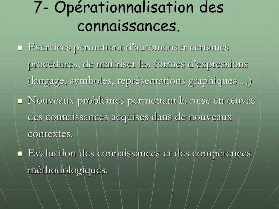 7- Opérationnalisation des connaissances. Exercices permettant d'automatiser certaines procédures, de maîtriser les formes d'expressions (langage, sym