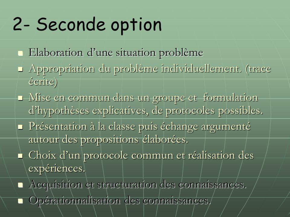 2- Seconde option Elaboration d'une situation problème Elaboration d'une situation problème Appropriation du problème individuellement. (trace écrite)