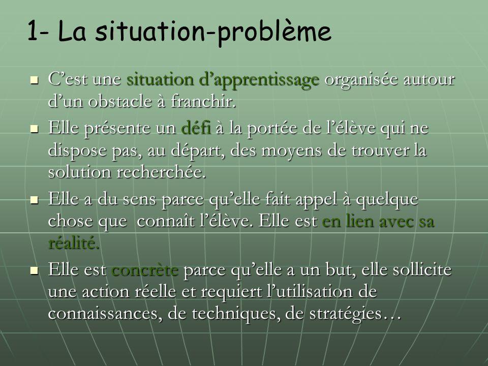 1- La situation-problème C'est une situation d'apprentissage organisée autour d'un obstacle à franchir. C'est une situation d'apprentissage organisée