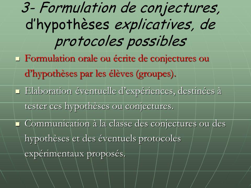 3- Formulation de conjectures, d'hypothèses explicatives, de protocoles possibles Formulation orale ou écrite de conjectures ou d'hypothèses par les é