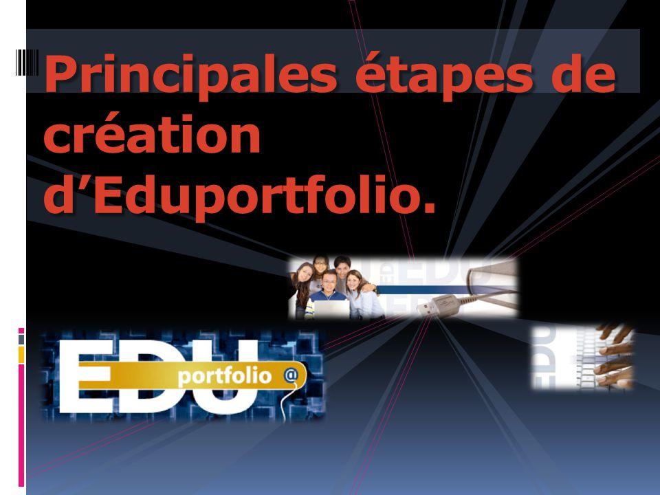 Principales étapes de création d'Eduportfolio.