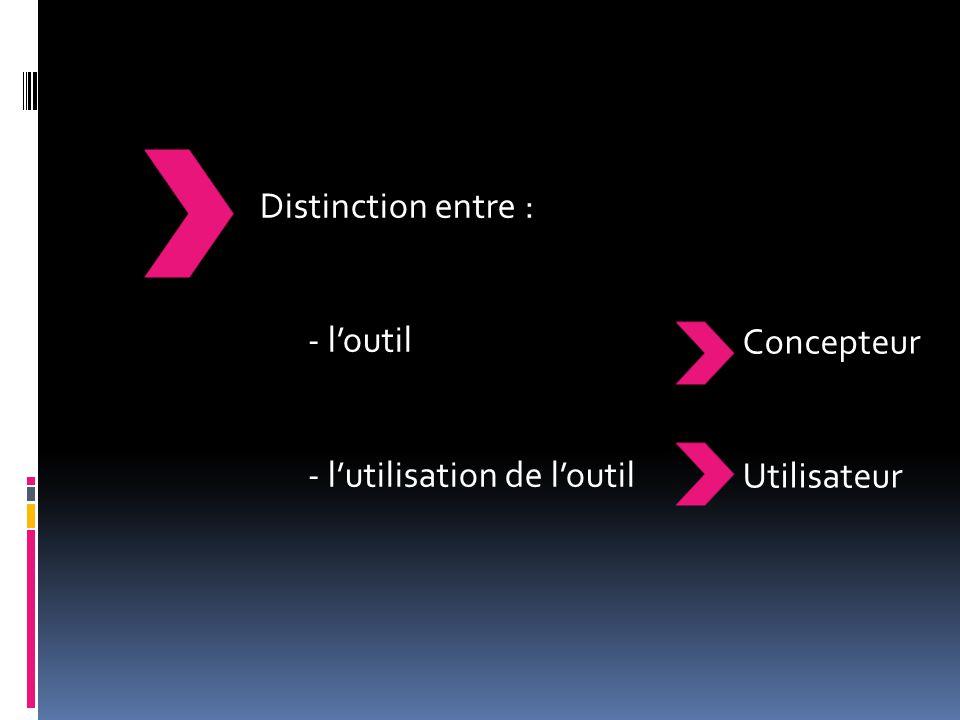 Distinction entre : - l'outil - l'utilisation de l'outil Concepteur Utilisateur