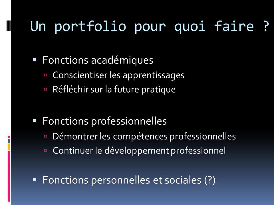  Fonctions académiques  Conscientiser les apprentissages  Réfléchir sur la future pratique  Fonctions professionnelles  Démontrer les compétences